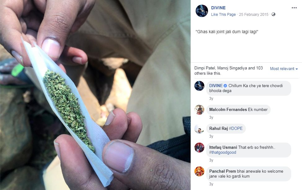 Divine's Facebook Post With Weed