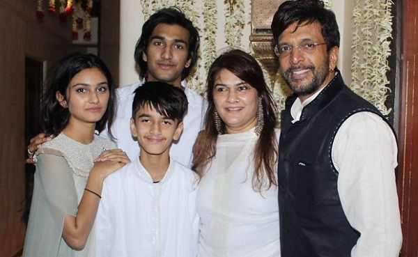 Javed Jaffrey with his wife and children